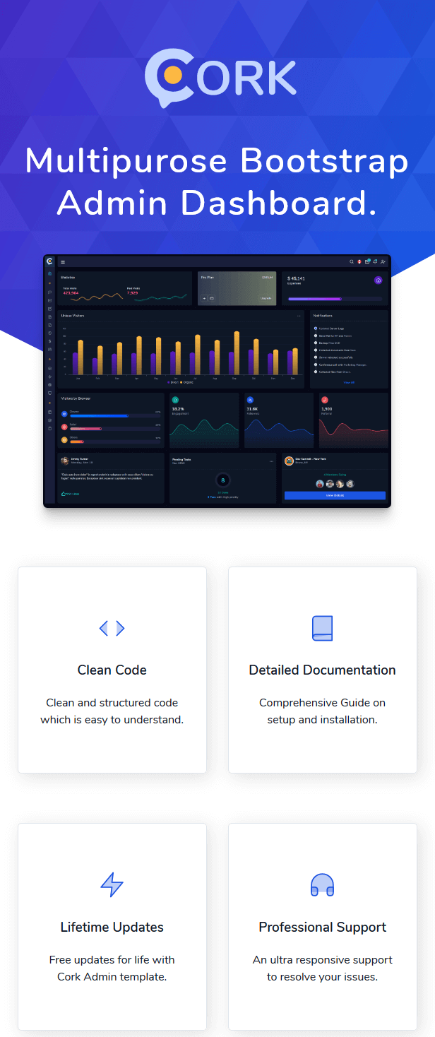 Cork - HTML and Laravel Bootstrap Admin Dashboard Template - 2