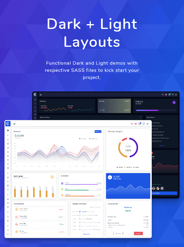 Cork - HTML and Laravel Bootstrap Admin Dashboard Template - 3